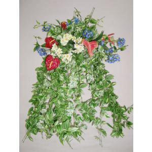 フェイクグリーン 観葉植物 ホワイトポトスとアンスリウムの超ジャンボな壁掛け CT触媒 silkflower