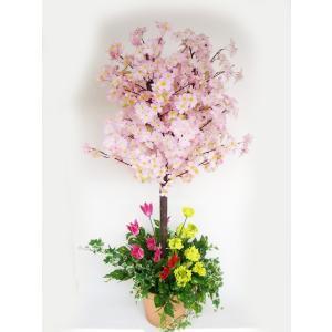 桜 造花 菜の花とチューリップで飾った桜の鉢植え snb シルクフラワー CT触媒 silkflower