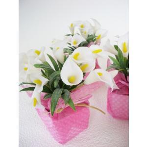 造花 ミニカラーのプチポットアソート6個セット シルクフラワー CT触媒 silkflower