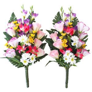 お仏壇や盆棚の両脇に置いてちょうどよい大きさの花束です。  サイズ:約H43(水上32)cm *商品...