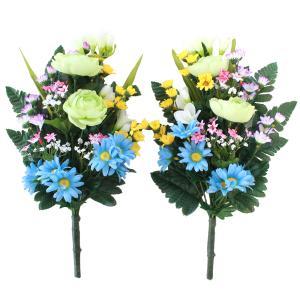 造花 仏花 仏様の四季の花束一対 シルクフラワー お仏壇 お墓用 CT触媒