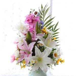 造花 仏花 胡蝶蘭やユリのパープル系の仏様の大きな花束(一束) お墓用 CT触媒 silkflower