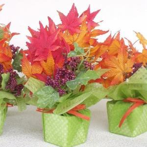 造花 もみじと小さな実りの秋のプチアレンジ5個セット シルクフラワー CT触媒 silkflower