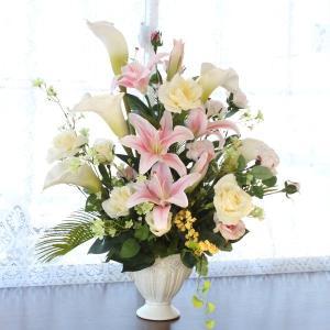 カサブランカ 造花 カサブランカとカラーの華やかなアレンジ CT触媒|silkflower