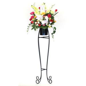 バラと胡蝶蘭のゴージャスなアレンジ スタンド付 造花 CT触媒 silkflower