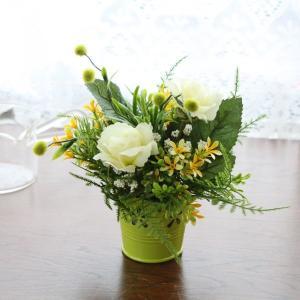 造花 バラ ミントグリーンのバラの爽やかなプチアレンジ CT触媒 silkflower