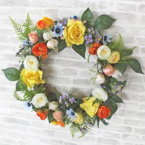 造花 バラ ラナンキュラスやローズの柔らかな色合いの上品なリース CT触媒|silkflower