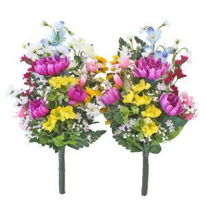お仏壇や盆棚の両脇に置いてちょうどよい大きさの花束です。  サイズ:約H50(水上40)×W26×D...
