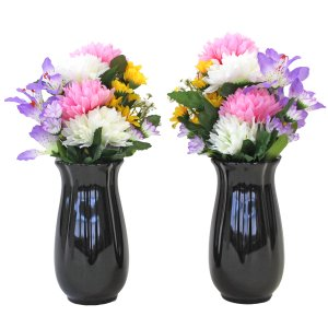 仏花 造花 可愛らしいエゾ菊とミニリリーの小花束一対 (花器付きセット) 仏壇用 CT触媒 silkflower