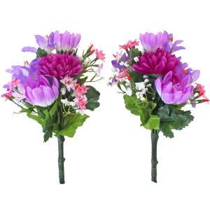 造花 仏花 マムとリリーの小花束一対 シルクフラワー お仏壇 CT触媒