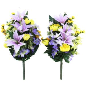 仏花 造花 ユリとおだまきの花束一対 お墓用 CT触媒 silkflower
