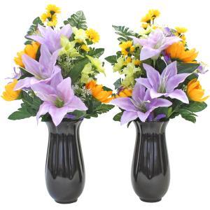 仏花 造花 ユリとおだまきの花束一対 (花器付セット) CT触媒 silkflower