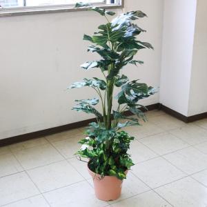 造花 観葉植物 大型 ミディアムサイズグリーン モンステラ 110 snb CT触媒 silkflower