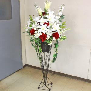 カサブランカ 造花 カサブランカとローズの豪華なスタンド付きアレンジ CT触媒|silkflower