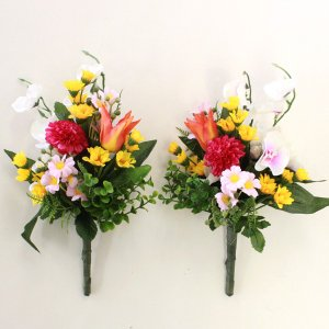 仏花 造花 ミニ胡蝶蘭と菊の小花束一対 CT触媒 silkflower