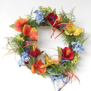 造花 アレンジ ハイビスカスのリース シルクフラワー CT触媒 silkflower