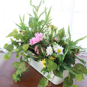 観葉植物 造花 玄関を飾る寄植えプランターA CT触媒 silkflower