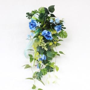 ブルーローズとベリーの壁掛け 父の日特集 シルクフラワー 造花 CT触媒 silkflower