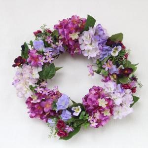 あじさい 造花 パープル系のミニローズと紫陽花のフラワーリース