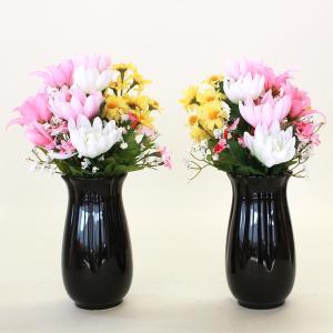 仏花 造花 カラフルな菊の小花束一対 (花器付きセット) 花器付き シルクフラワー お彼岸 お盆 お仏壇 CT触媒 silkflower