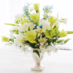 造花 供花 柔らかいミントグリーンのアレンジ 仏花 お供え CT触媒 silkflower