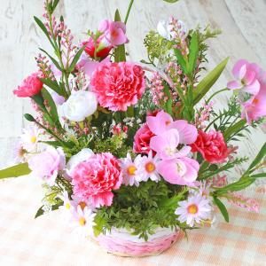 造花 アレンジ ピンク色のデージーの風水のフラワーアレンジ 北 CT触媒 silkflower