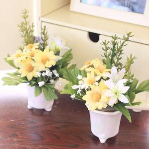 造花 ペットのお供えに イエローの小花のプチアレンジ一対 CT触媒|silkflower