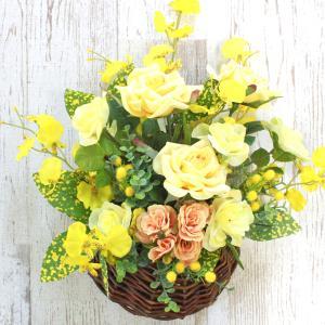 造花 バラ 黄色いバラやオンシジウムの風水フラワーアレンジ CT触媒 silkflower
