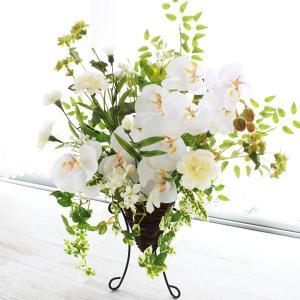 白い 胡蝶蘭 の清楚なスタンド型のフラワーアレンジ CT触媒 シルクフラワー 造花 高級 インテリア ギフト|silkflower