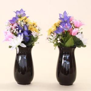 仏花 造花 紫の桔梗と菊の小花束一対 (花器付きセット) シルクフラワー 造花 お彼岸 お盆 お仏壇 仏花 silkflower