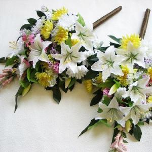 仏花 造花 アレンジャーお任せ 仏様の大きな花束一対 シルクフラワー お墓用 お仏壇 供花 silkflower