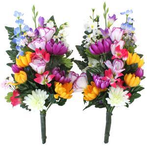 仏花 造花 グラジオラスと菊の花束一対 お墓用 お仏壇 CT触媒 silkflower