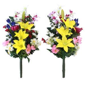 CT触媒 オーキッドとユリの花束一対 シルクフラワー 造花 お彼岸 お盆 お仏壇 仏花 silkflower