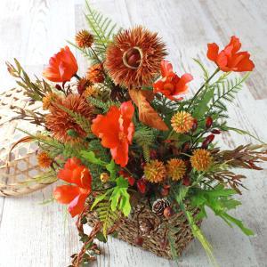 造花 ちっちゃなどんぐりと栗の置いても飾れる壁掛けアレンジシルクフラワー CT触媒|silkflower