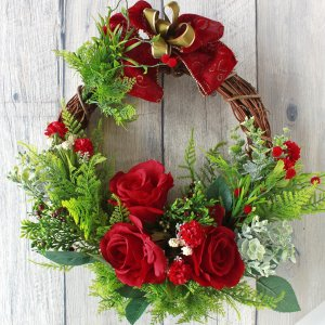 造花 白いポインセチアとグリーンの胡蝶蘭の豪華なアレンジ CT触媒加工済 クリスマス|silkflower