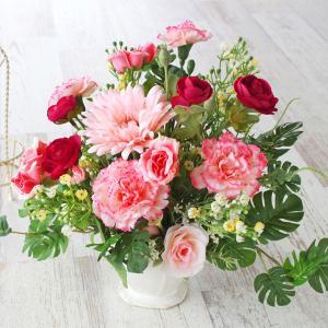 母の日遅れてごめんね 造花 ラナンキュラスとピーチカラーのガーベラのアレンジ 母の日 プレゼント ギフト カーネーション CT触媒 シルクフラワー|silkflower