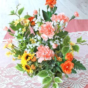 母の日遅れてごめんね 造花 やさしいオレンジカラーのミニバラとひまわりのアレンジ 母の日 プレゼント ギフト カーネーション CT触媒 シルクフラワー|silkflower