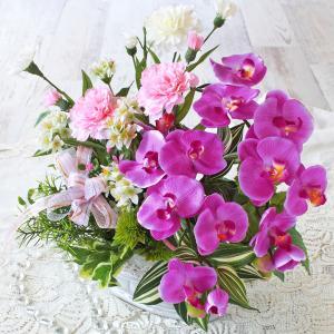 母の日遅れてごめんね 造花 胡蝶蘭と2色のカーネーションの上品なアレンジ 母の日 プレゼント ギフト カーネーション CT触媒 シルクフラワー|silkflower