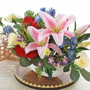 母の日遅れてごめんね 造花 アンスリウムとカサブランカのアレンジ 母の日 プレゼント ギフト カーネーション CT触媒 シルクフラワー|silkflower