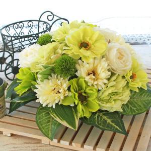 母の日遅れてごめんね 造花 爽やかなグリーンのピオニーとアネモネのドーム型アレンジ 母の日 プレゼント ギフト カーネーション CT触媒 シルクフラワー|silkflower