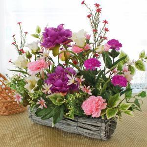 母の日遅れてごめんね 造花 カンパニラとピオニーの和風アレンジ 母の日 プレゼント ギフト カーネーション CT触媒 シルクフラワー|silkflower