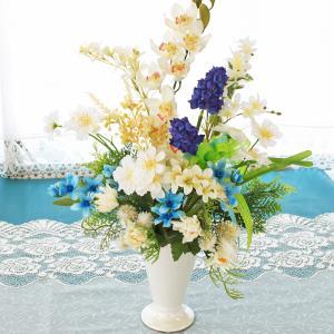 母の日遅れてごめんね 造花 仏花 亡き母に贈る コスモスとデンファレのアレンジ 母の日 プレゼント ギフト カーネーション CT触媒 シルクフラワー|silkflower