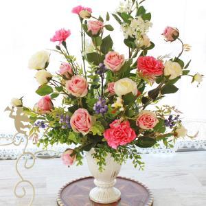 母の日遅れてごめんね 造花 ピンクのローズとジャスミンの華やかなアレンジ 母の日 プレゼント ギフト カーネーション CT触媒 シルクフラワー|silkflower