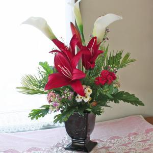 母の日遅れてごめんね 造花 カサブランカとカラーの高級なアレンジ 母の日 プレゼント ギフト カーネーション CT触媒 シルクフラワー|silkflower