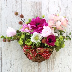 母の日遅れてごめんね 造花 シンビジウムとアネモネの壁掛けアレンジ 母の日 プレゼント ギフト カーネーション CT触媒 シルクフラワー|silkflower
