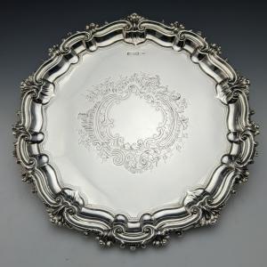 1904年 英国アンティーク 純銀製 サルヴァ WALKER & HALL 直径26cm 517g