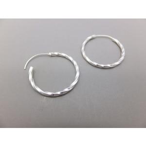 ピアス シルバー925 シンプル 軽量     ツイストフープ25|silverbell-jewellery