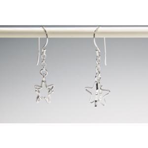 ピアス シルバー925 シンプル 軽量     リトルスター スイングピアス|silverbell-jewellery