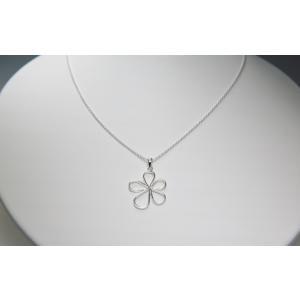 ペンダント シルバー925 シンプル 軽量   フレームフラワーペンダント silverbell-jewellery