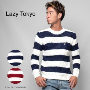 """(取り寄せ)""""Lazy Tokyo【レイジートウキョウ】Waffle Borderクルーネックニット/全2色"""